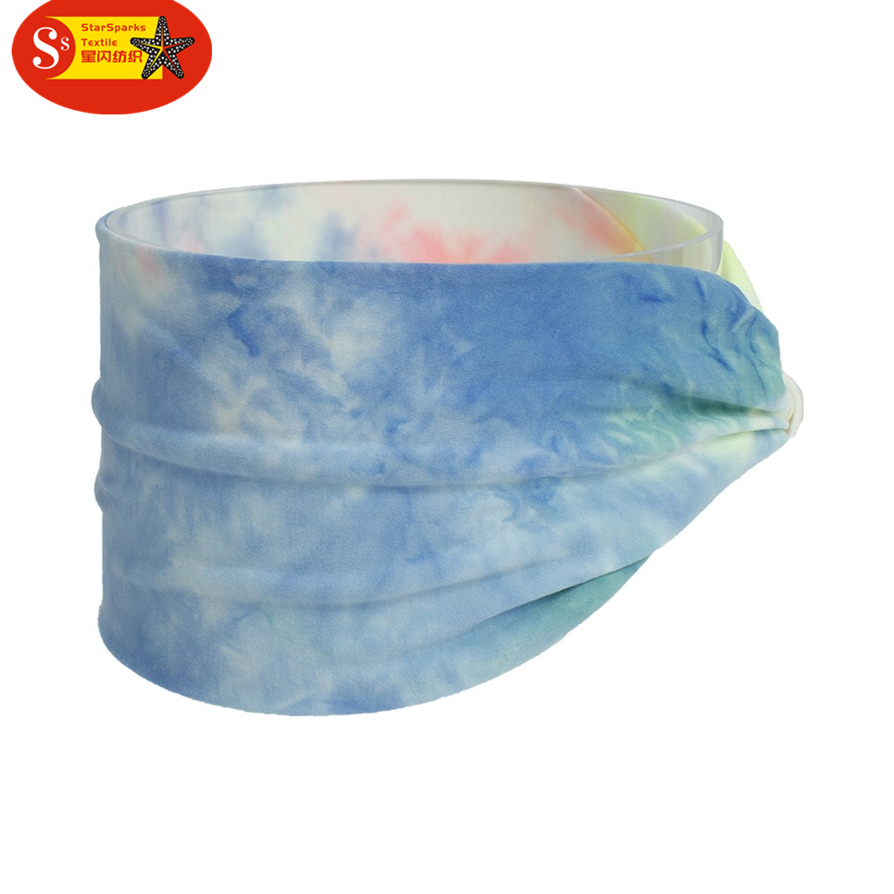 2021 new design tie-dyed fabric Hair band for girls