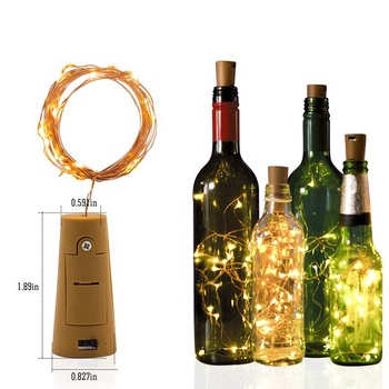 Wine Bottle Fairy Lights with Cork Battery Operated LED Cork Shape Copper Wire Fairy String Lights for DIY Party Christmas