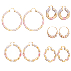Ethlyn Fashion African/Arab/Ethiopian Big Hoop Dangle Earrings for Women Multicolor Copper Twisted/Beaded Earrings E204