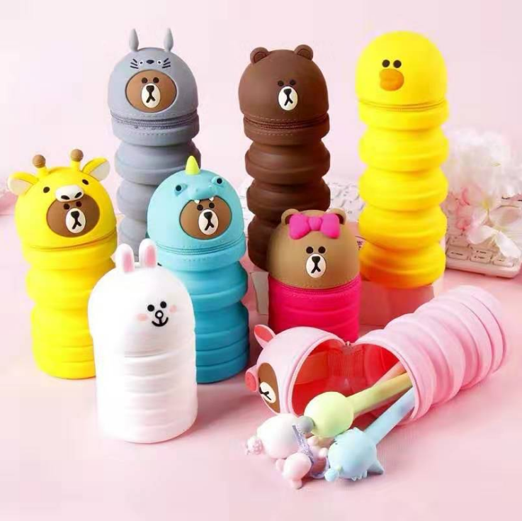 Brand silicone extendable pen holder silicone writing case cartoon pen box web celebrity pen bag can be customized LOGO