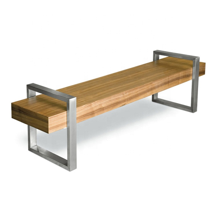 Factory Customized High Quality Wooden Bench Stainless Steel Bench Garden Park School Public Bench