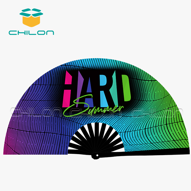 Large bamboo foldable hand fans customized sublimation hand fan