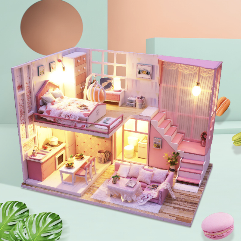 Cheap price preschool pretend play toys diy pink wooden doll house furniture toy for girls present