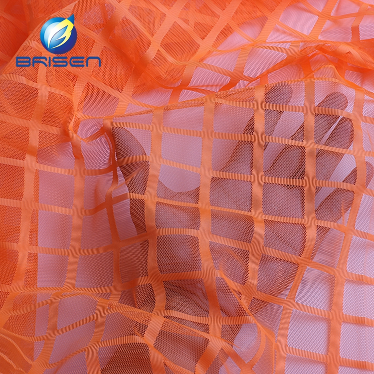 translucent Textured fashion orange plaid stretch clothing polyester mesh fabric stextile
