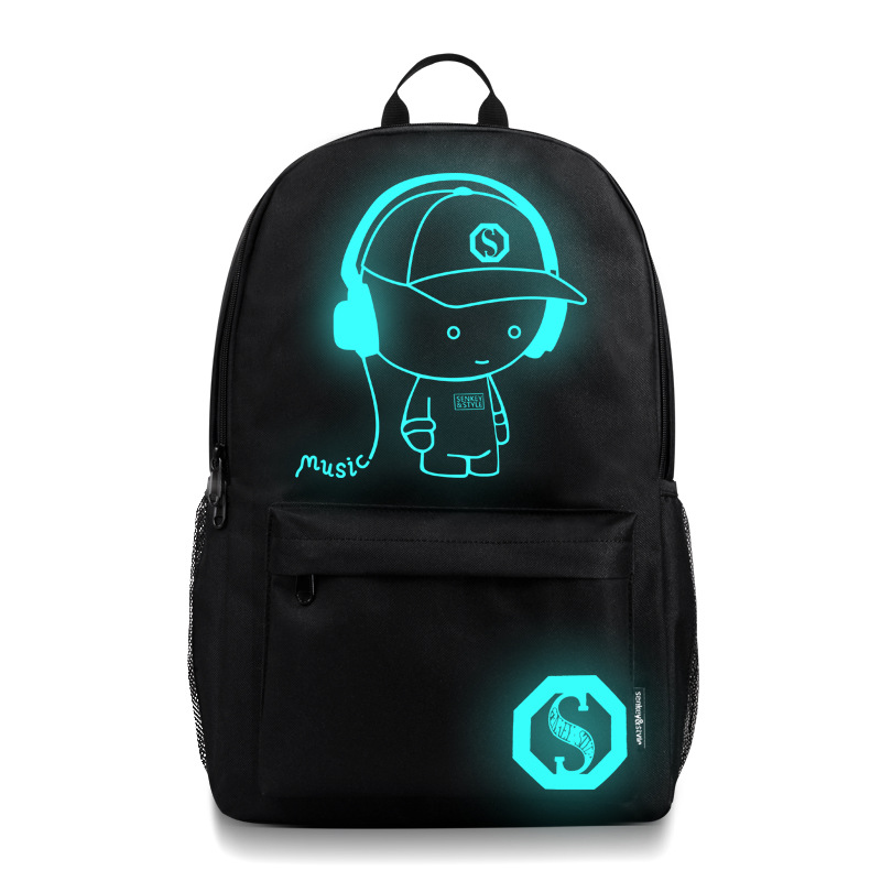 Luminous backpack Anti-theft Waterproof Smart teenagers college school Travel Night-Light Laptop backpacks with USB