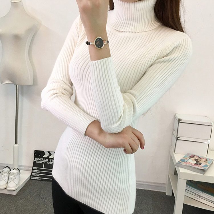 Winter Clothing Knitted Cotton Long Sleeves Tops Pullover Turtleneck Women's Sweater