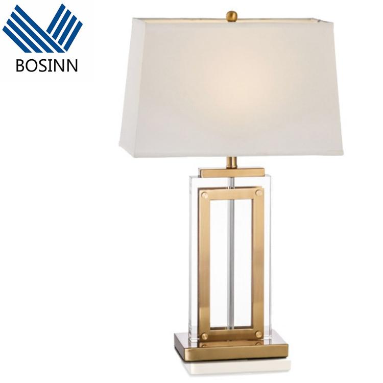 LED Table Lamp Office villa Table Light Crystal Desk Light Copper Base hotel Foyer Bedroomn study room Bar Loft Lighting