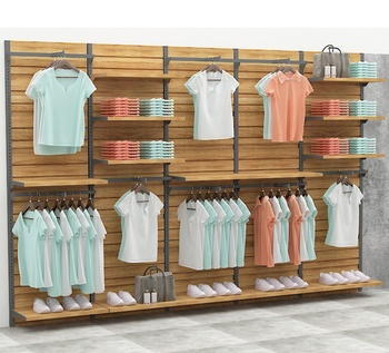 Customized Wood Clothing Display Cabinet Showcase Garment Store Rack for Men and Women Clothing Store Furniture