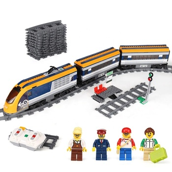 02117 82087 City Passenger Train With Motor Building Blocks Bricks Compatible 60197 Light rail Educational Birthday Gifts Toys