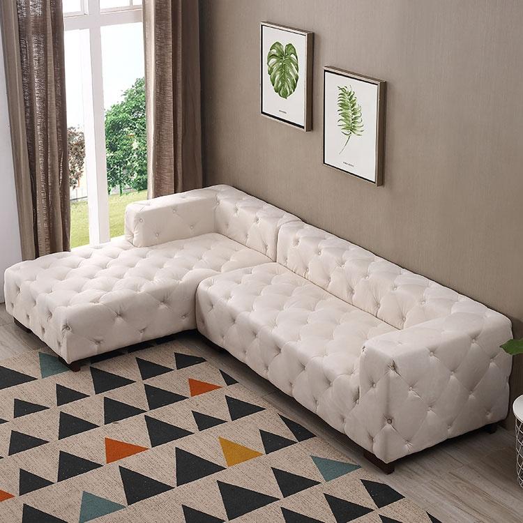 Classical cheap l shaped button corner home furniture sofa