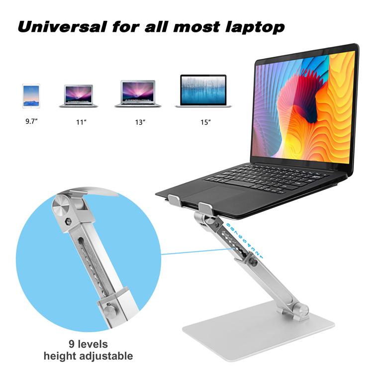 Складная подставка для ноутбука Great Roc, Универсальная Портативная Телескопическая Подставка для ноутбука, 9 уровней регулировки высоты