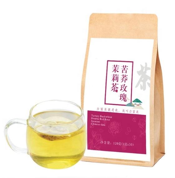 OEM organic ROSE flavor skin beauty whitening glow tea with health care anti antioxidant herbal blended buckwheat jasmine - 4uTea | 4uTea.com