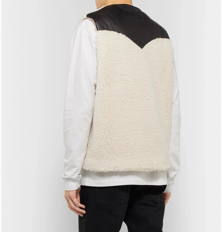 Custom men leather trimmed polar sherpa fleece gilet vest with chest pockets