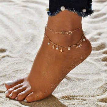 Bohemian Round Beads Chain Anklets Gold Silver Color Star Foot Anklet For Women Beach Barefoot Sandals Foot Leg Bracelet Jewelry