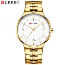Мужские кварцевые часы CURREN, классические водонепроницаемые часы черного цвета с ремешком из нержавеющей стали, 30 м, 2019(Китай)