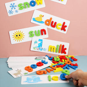 Children 26 Letters 3D Wooden Alphabet Puzzle Spelling English Words Games Preschool Educational Toy