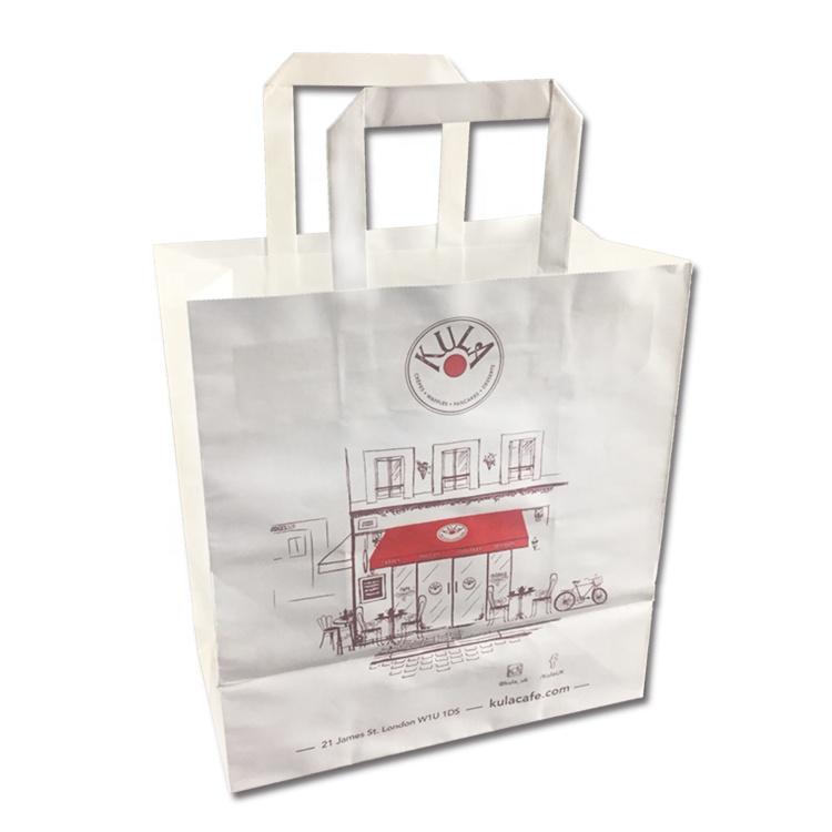 Выполненный по индивидуальному заказу bolsas de papel с многослойным покрытием с ручкой коричневый белый крафт-бумажный мешок