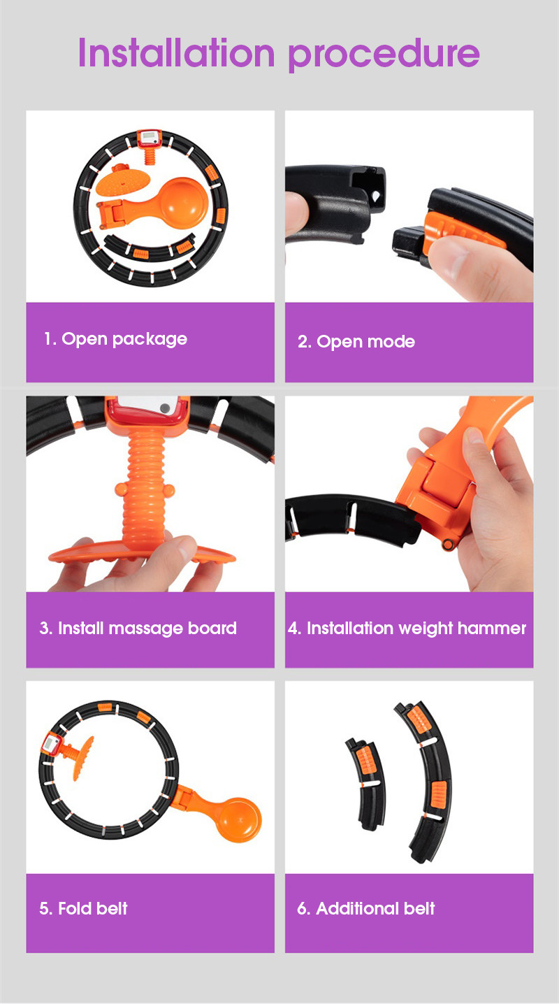 Hot Sale Auto-Spinning Hoop Detachable Ring Smart Counting Weighted Hula Circle Hoop with Exercise Ball