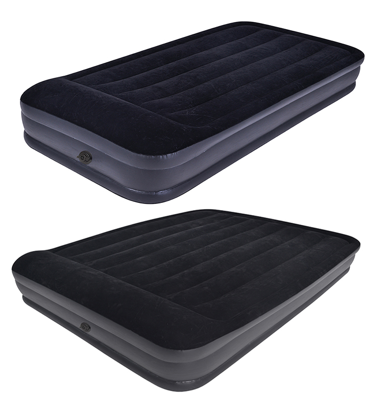 indoor avenli flocked inflatable pvc air bed portable black queen folding airbed mattress