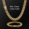 12mm Gold Buckle Clasp Curb Cuban Chain