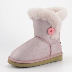 Модные Блестящие Зимние теплые розовые детские ботинки с подкладкой из искусственного меха для маленьких девочек