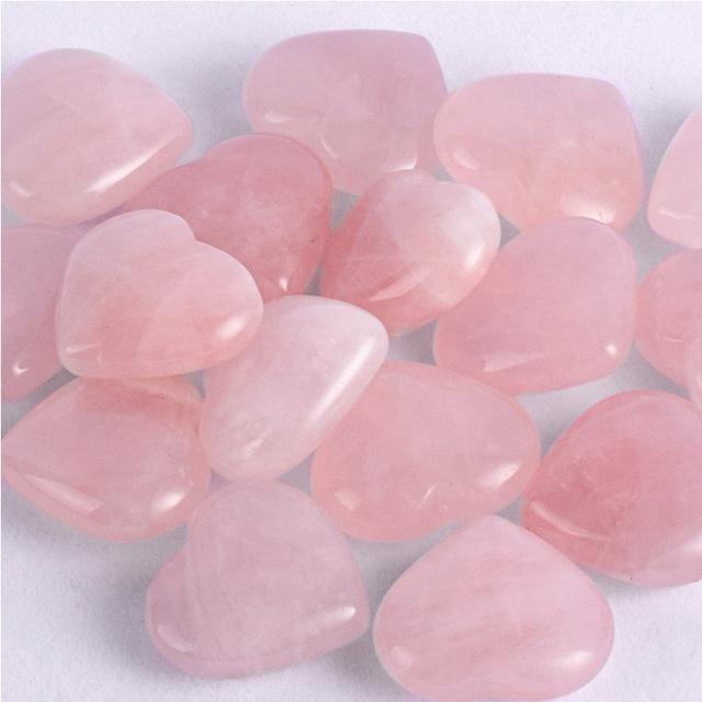 Wholesale natural crystal craft heart shaped stone small rose quartz hearts