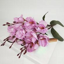 Белые тканевые цветы магнолии, букет для нового года, вечерние, зимние, 45 см, искусственные цветы для свадьбы(Китай)