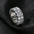 Cut 14k Diamond Silver Rings 9mm 2Rows Round Cut 14K Silver Plated Diamond Wedding Band Eternity Bands Ring For Men Women