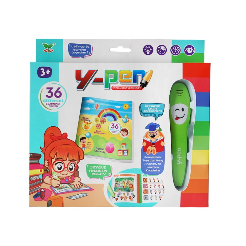 New Arrival Kids English Logic Judgment Sound Reading Y-pen Talking Pen with Color Book