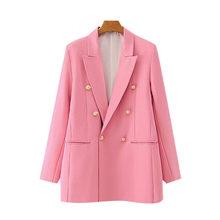 Женский двубортный пиджак KPYTOMOA, винтажный пиджак с длинными рукавами и карманами, верхняя одежда для офиса, 2020(Китай)