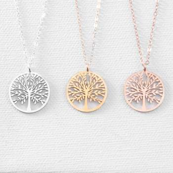 Stainless Steel Christmas Tree Necklace Mom Jewelry Gift Tree Of Life Necklace Family Tree Pendant Necklace