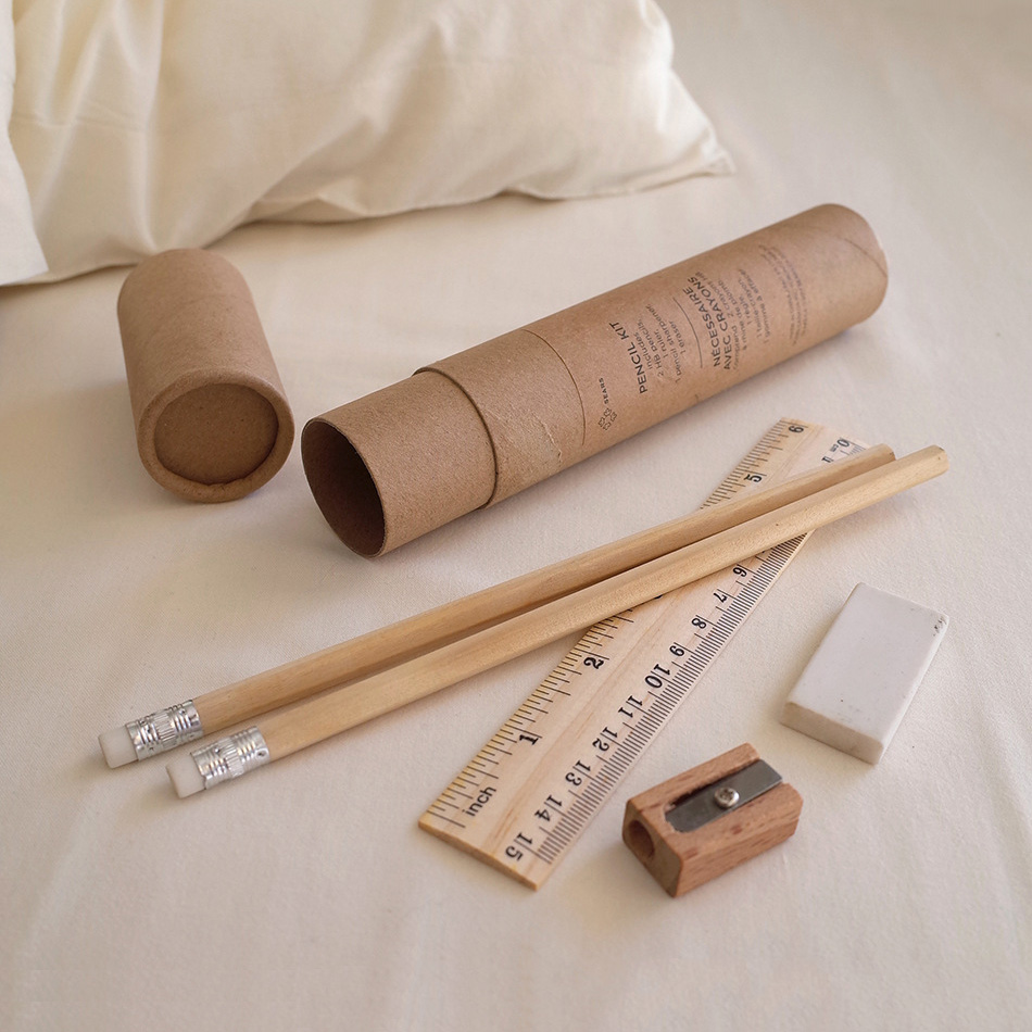Eco-friendly stationery set Natural wood pencil and sharpener white eraser wooden ruler in a kraft tube