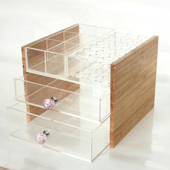 Wholesale Clear Makeup Storage Acrylic Lipstick Cosmetic Organizer With 2 Drawers Bamboo OPI Nail Polish Varnish Display Stand