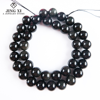Natural Loose large hole gemstone beads black obsidian beads for making jewelry crystals and gemstones bracelet