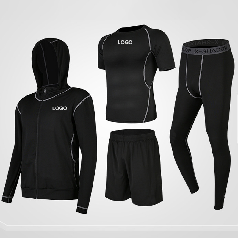 new running breathable quick drying tights four piece track suit sportswear custom logo gym wear fitness sets