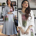 Sequins Embroidered Maxi Dress For Women Turkey Arabic V Neck Long Sleeve Jalabiya Muslim Islamic Ethnic Abaya 2021 Eid