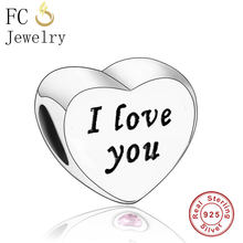 FC Jewelry подходит для оригинальных браслетов Pandora, 925 пробы, серебряная башня, сердце, мама, День матери, семейная с буквами, бусы, Berloque(Китай)
