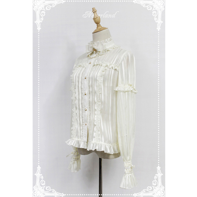 Chinese provider The exclusive design of the  chiffon stand collar flared sleeves Lolita shirt shirt