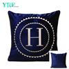 Midnight Blue Logo Personalizzato Velluto Decorazione Cuscino Per Divano