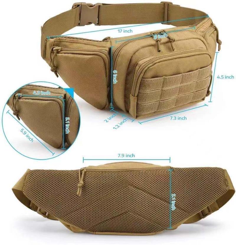 Military Fanny Pack Waist Bag Outdoor Hiking Durable Tactical Gun Messenger Bags For Men