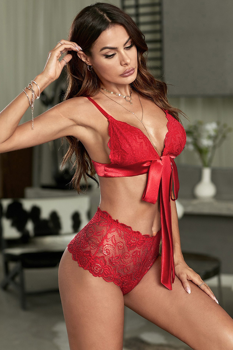 LC43145 Sexy lingerie female European and American new sexy one-piece sling lace printed pajamas set