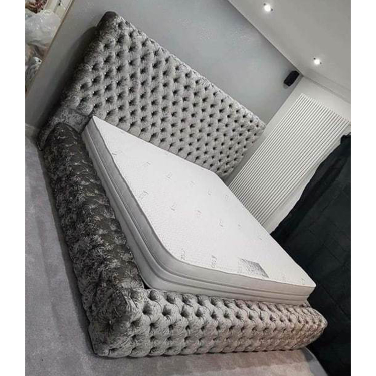 Brand new crushed velvet chesterfield upholstery Ambassador bed with button