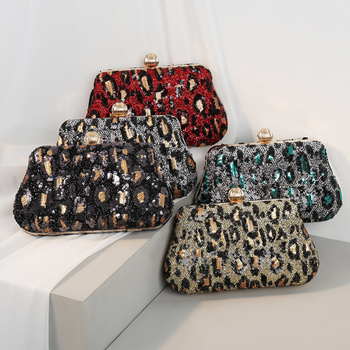 Good selling Metal Small sequins Embroidery Leopard-print wild style female Evening bags clutch bags Hand bags