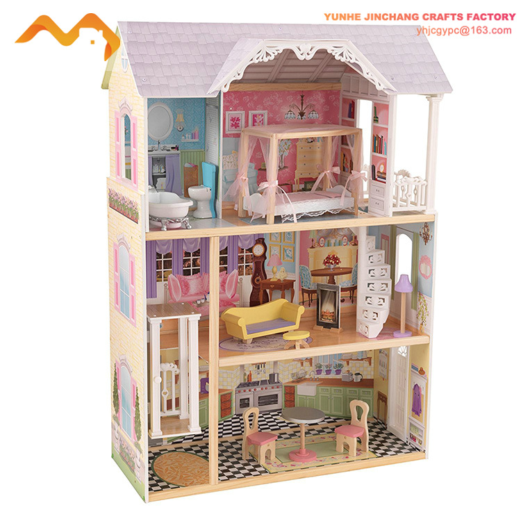 simulation children luxury wooden toy dream cottages dollhouse T65606