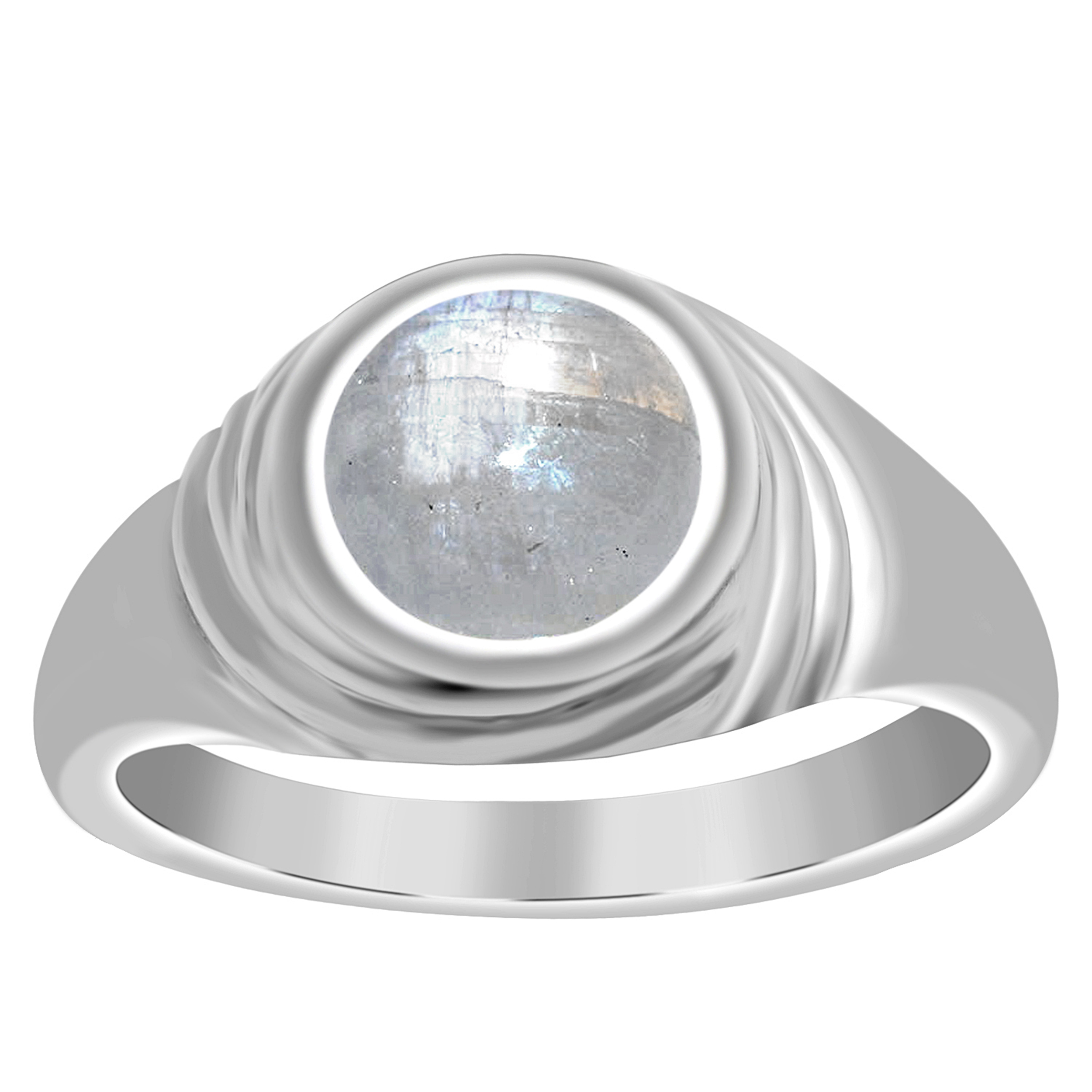Round 10 MM Rainbow Moonstone 925 Sterling Silver Solitaire Band Ring