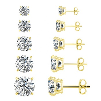 POLIVA 18K Gold Plated 925 Sterling Silver Cubic Zirconia Cz Earrings Stud Earrings