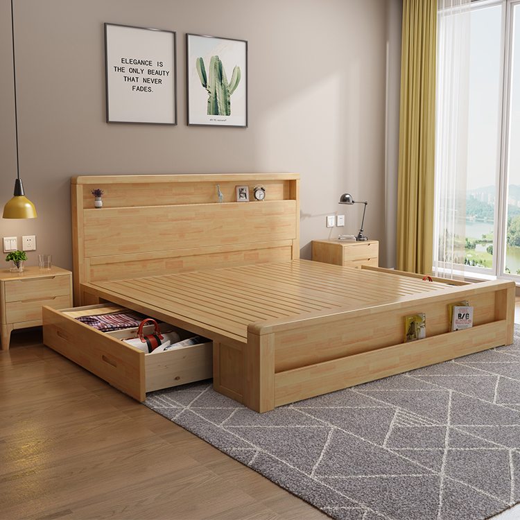 Nordic Modern Style Trundle Platform Bed With Storage 1 8 1 5 Meters Bedroom Furniture Simple Bed Frame Solid Oak Wood Bed Buy Latest Storage Bed Furniture Wooden Double Bed Designs With
