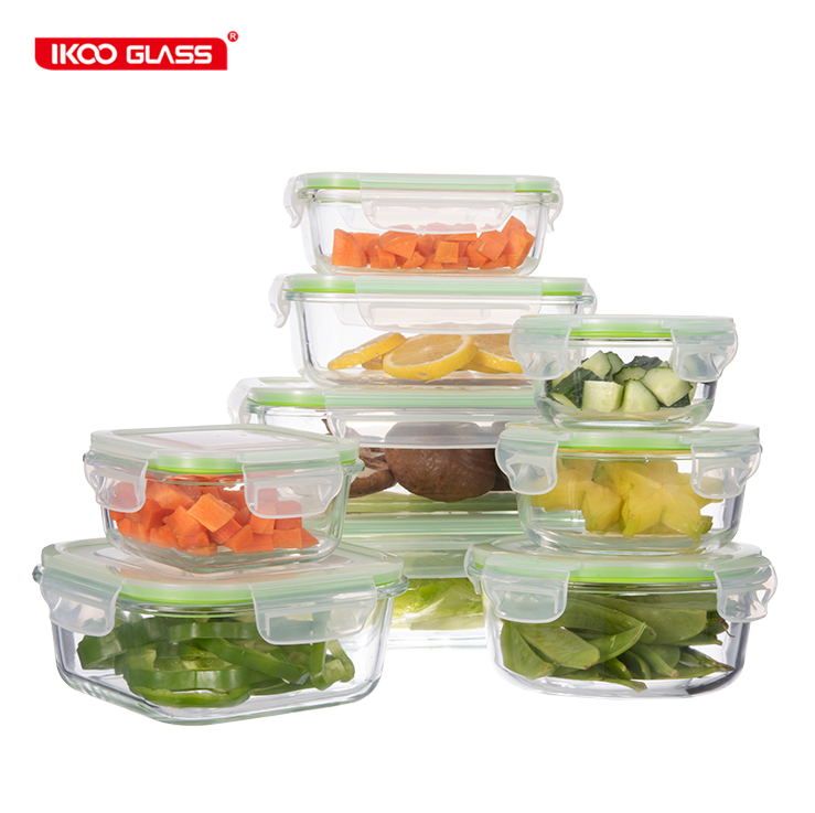 Amazon top seller glass food storage set containers bpa free 18 pcs sets