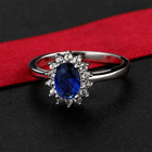 Engagement Blue Ring Wholesale Custom Luxury Women's Engagement Anniversary Blue Sapphire 925 Sterling Silver Ring