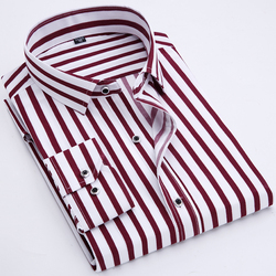 Wholesale Men's  plaid Shirts With Printed Stripes And Long Sleeve Dress Shirts For  Business and office